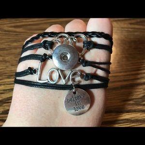 """Jewelry - """"Believe in love"""" snap bracelet"""